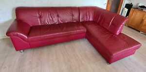 Leder Sofa Ecksofa Rot Schlafcouch gebraucht - Nichtraucher- Keine Tiere