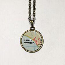 INGLEWOOD SANTA MONICA CALIFORNIA USA Map Pendant Bronze necklace vntg ATLAS