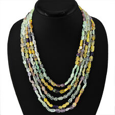 465.00 CTS NATURAL 5 LINE RICH MULTICOLOR FLOURITE BEADS NECKLACE - ON SALE