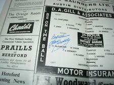 HEREFORD UNITED v INTERNATIONAL XI PROGRAMME 1966 SIGNED TOMMY DOCHERTY