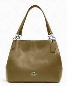 Coach Hallie Shoulder Bag Kelp Pebble Leather Purse Handbag Tote Hobo NWT