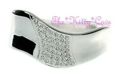 Silver Rhodium Plated Unusual Wavy Hinged Bangle Bracelet w/ Swarovski Crystals