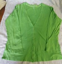 Lands End Sweater L/P Lightweight Cardigan Sweater Green