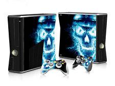 Xbox 360 slim skin Design volets Autocollant Film de protection set-Blue skull motif