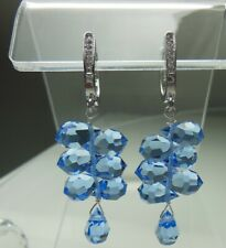 Light Sapphire Faceted Crystal Drop Cascade Earring Sterling Silver Pave Earring