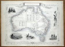 AUSTRALIA, Rapkin & Tallis original antique illustrated map 1851