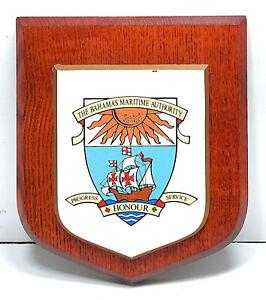 "Vintage Antique Wooden Plaque & Sign ""The Bahamas Maritime"" For Home Decor"
