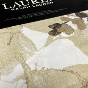 Ralph Lauren F/QUEEN Duvet Cover 3pc Set, Corrine Tonal Leaf Flax Chocolate NIP