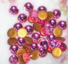 Vintage Glass Cabochons Pink Rose 6mm Round NOS Flat Back Gold Foil #1167D