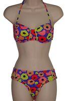 Bar III multi-color floral bandeau bikini size M swimsuit new