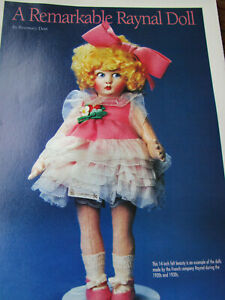 2pg RAYNAL Cloth Doll History Article / REMARKABLE / Dent
