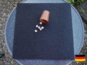 Würfelunterlage Kniffel Knobel Filzmatte 70 x70 Wollfilz Spielunterlage antrazit