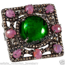 Gemstone Studded Silver Ring Jewelry Victorian Inspired 3.78Cts Rose Cut Diamond