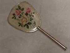 Beautiful Vintage Hand Mirror - Circa 1940's - Gold Leaf with Flower Pattern