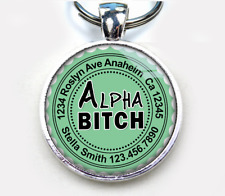 Alpha Bitch aqua Custom funny humor 11 colors pet dog cat tag