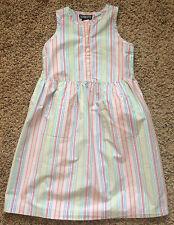 EUC Lands End Girls Pastel Stripe Sleeveless Cotton Dress 6X