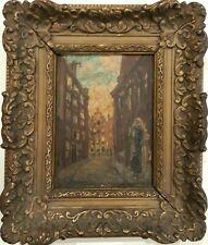 Vermeulen - 19th Century Oil on Wood Panel - European Town Street View