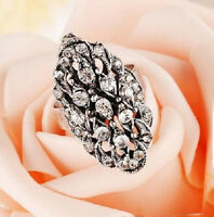 NEW Silver Crystal Oval Ring Band Wrap Rings Women Adjustable Jewelry Vintage