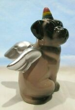 """Pug Dog Mix with Angel Wings Porcelain Figurine 4""""Tall X 2.5""""Wide"""