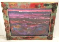 Pablo Antonio Milan Acrylic Abstract Painted Art & Frame Multicolor Autographed