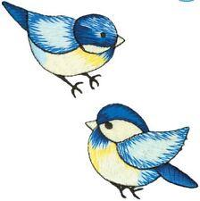 Les oiseaux bleu brodé fer sur applique Pack de 2