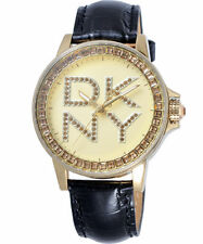 DKNY BLACK LEATHER STRAP+GOLD+LOGO CRYSTALS DIAL WATCH-NY4789