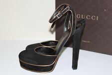 New sz 8.5 US / 38.5 GUCCI Platform HUSTON Black Gold Suede Slingback Pump Shoes