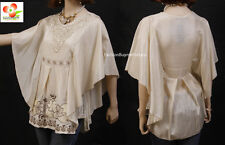 Victorian Renaissance Embroidered Lace Pearl Kimono Batwing Blouse Shirt Top CRM