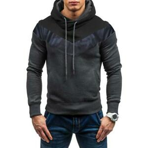 Men Hoodies Casual Sports Autumn Pullovers Patchwork Camo Print Hooded Top $S1