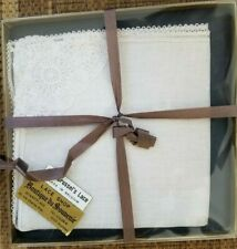vtg New boxed Brussel'S Lace linen cut out embroidered lacy Hankie