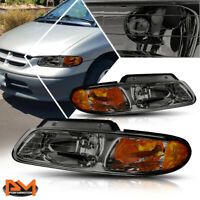 96-00 Dodge Caravan Chrysler Town /& Country Black Euro Headlight+Amber Reflector