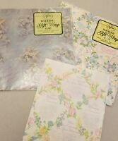 Lot 3 Vintage Wedding Shower Gift Wrap Bells Umbrellas Floral Blue Pink Ephemera