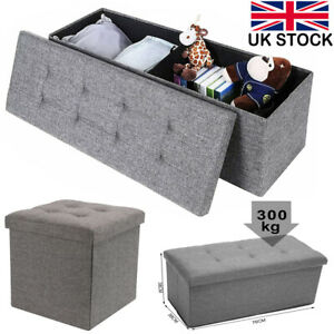 Large Folding Storage Ottoman Bench Seat Stool Grey Linen Toy Chest Box Home UK