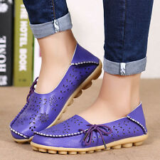 Women's Casual Flat Leather Shoes Driving Loafers Lazy Peas Moccasin Pierced