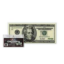 200 Us Currency Paper Money Bill Protector Sleeves For Regular Bills By Bcw New