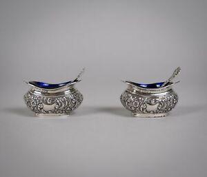 Pair Silver Salt Cellars & Matching Spoons by Joseph Gloster, Birmingham, 1905.