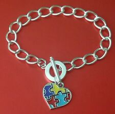 Autism Awareness Toggle Bracelet with Colourful Enameled Puzzle Heart Charm Gift