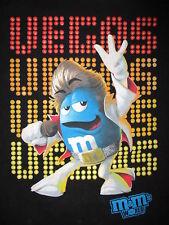 M&M's WORLD ELVIS IMPERSONATOR T SHIRT Las Vegas Viva Blue Candy Black Tee MED