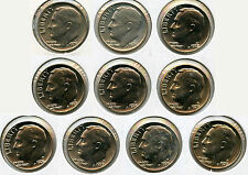 1970 - 1979 Roosevelt Dimes Coin Set - Denver Mint - R10C AG307