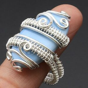 OWHYEE OPAL & 925 SILVER PLATED WIRE WRAPPED RING US 10, K756
