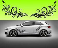 2x flowers swirl car vinyl (f5) STICKER DECAL VAN CAR COLOUR DUB JDM