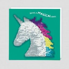 Have a Magical Day Blank Greeting Card - Reversible Unicorn Seguin Patch