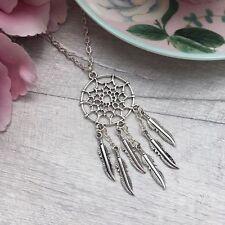 """Long Silver Dream Catcher Necklace, Boho Dreamcatcher Necklace, 20"""" - 22"""" Chain"""