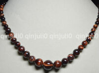 6-14MM RED GENUINE TIGER'S EYE GEMS STONE ROUND BEADS JEWELRY NECKLACE JN772