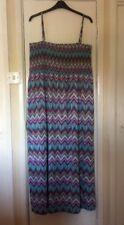 Turquoise Pink Mix Aztec Boho Strappy Full Length Maxi Dress   B.You   Size 24