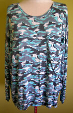 Ladies Womens Long Sleeve Blue Camo Oversized Pocket Top Shirt Blouse Mix SizeXL