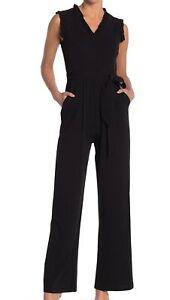 Calvin Klein Womens Jumpsuit Black Size 8 V-Neck Ruffle 2-Pocket Belt $134 488