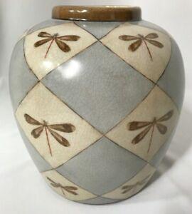 HomArt Ceramic Ginger Jar Dragonfly Motif Crackle Looks Vintage