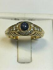 Substantial 18 Carat Yellow Gold DIAMOND & CABOCHON CUT SAPPHIRE Ring Scarce