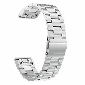 Laufbursche Zubehör Ersatz Armband für Garmin Fenix 6 Edelstahl silber
